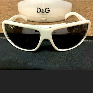 Dolce and Gabbana Wraparound White Sunglasses